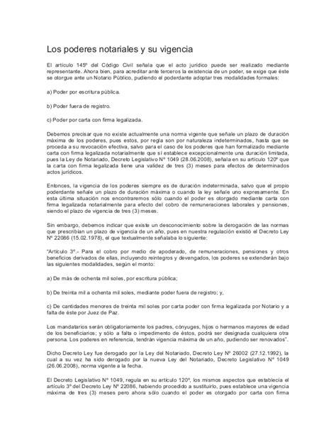 carta poder donde se saca los poderes notariales y su vigencia