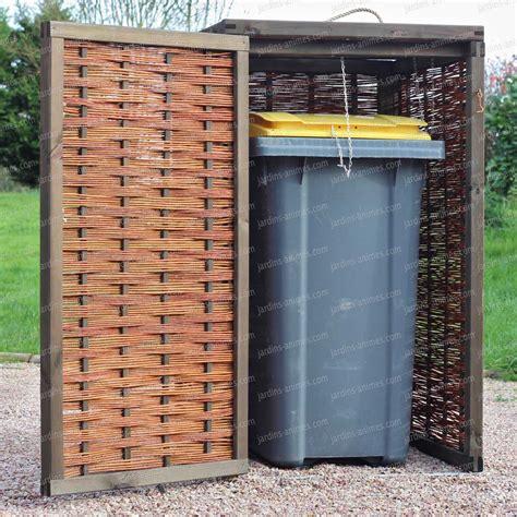 cache poubelle tressage osier et pin fsc mobilier de jardin