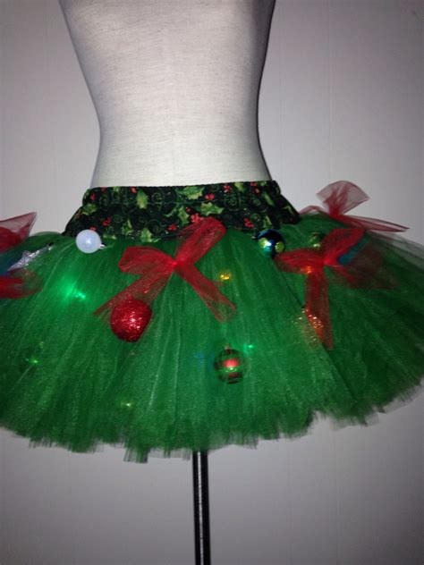 adult christmas tree decorated tutu with lights ugly sweater