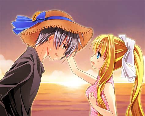 anime couple  sunset cartoon design wallpaper preview