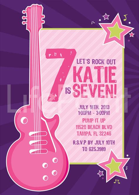 free printable rockstar birthday invitations rock star birthday invitation printable digital file