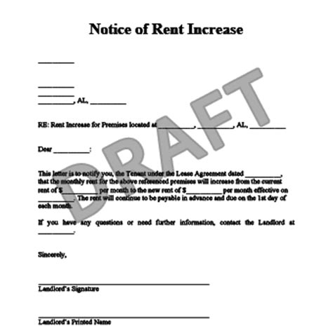 Letter Advising Increase In Rent Create A Rent Increase Notice In Minutes Templates