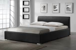 luxury bedroom with leather black bed frame ideas