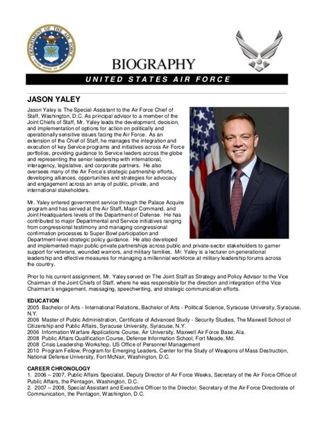 air force biography template
