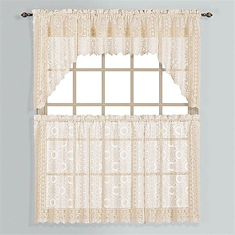 36 inch window curtains buy new rochelle 36 inch lace window curtain tier pair in