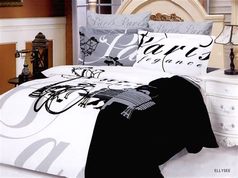 paris themed comforter sets black and white paris themed bedding