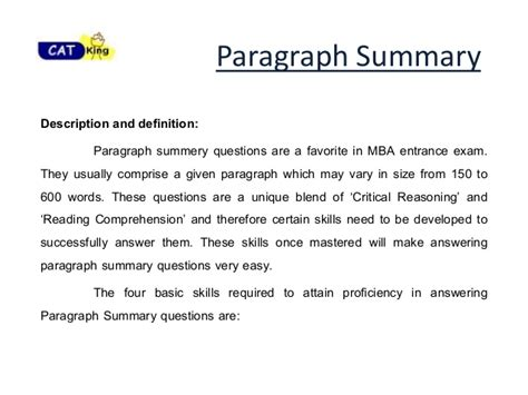 Profile Section Of Resume Example by Paragraph Summary For Cat Cet Snap By Cat Classes In