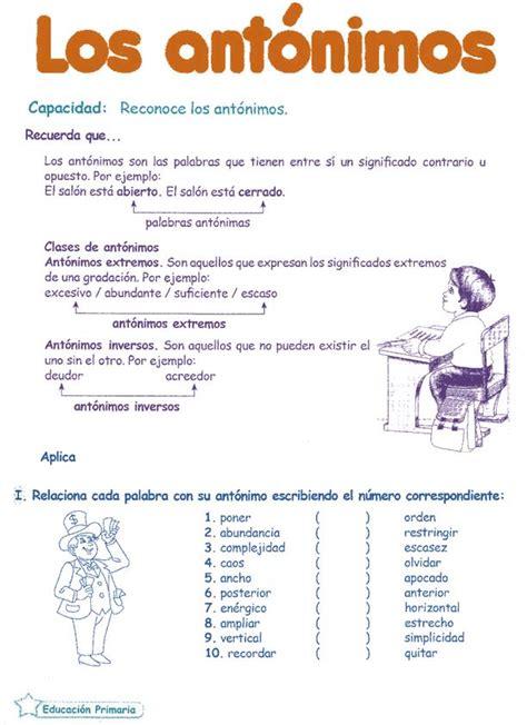 lectura y redaccin ejercicios y teora sobre lengua espaola ant 243 nimos para ni 241 os 6 186 primaria razonamiento verbal