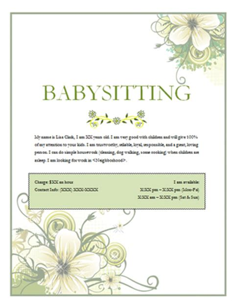 free babysitting flyer templates free babysitting flyers templates and ideas