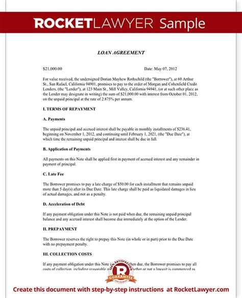 loan agreement template loan contract form with sle