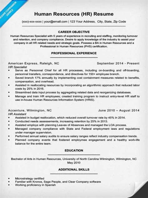 Human Resource Resume by Free Human Resources Specialist Resume Exle