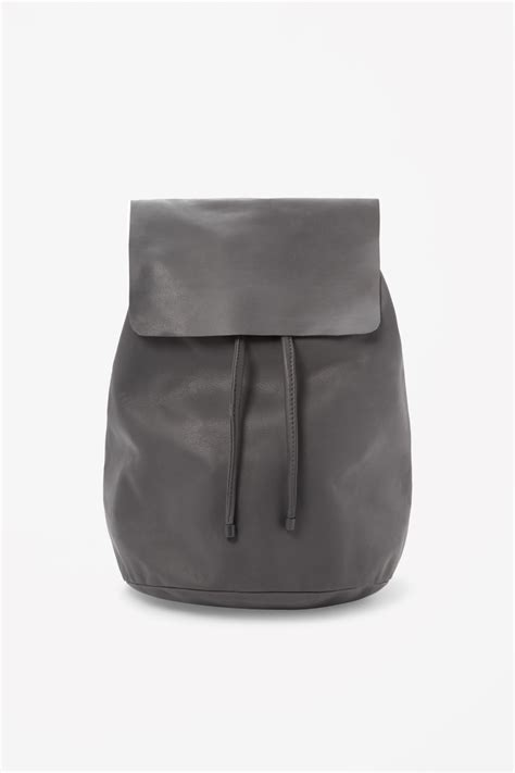 Backpack Leather Grey cos soft leather backpack in gray grey lyst