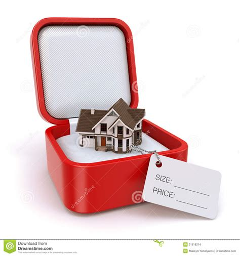 house gift gift box with house real estate concept stock images