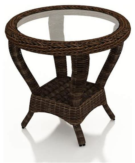 wicker accent table leona wicker round patio end table mocha wicker