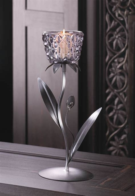 candle holder metal smoked glass flowered candle holders