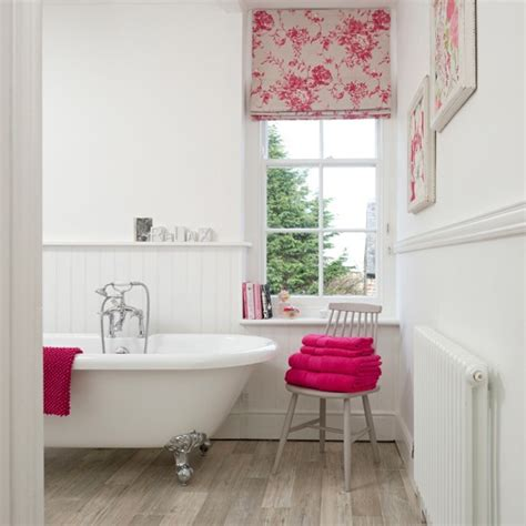 pink and white bathroom white panelled bathroom with pink accents bathroom