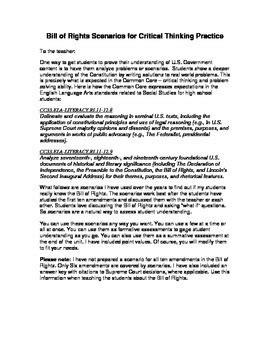 Bill Of Rights Scenarios Worksheet