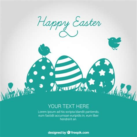 Easter card in turquoise tone Vector   Free Download