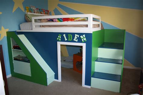 white build size playhouse loft bed