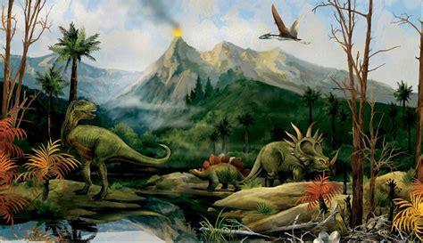 dinosaur wall murals dinosaur landscape wall mural jurassic dino volcano