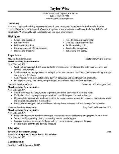 Production Merchandiser Sle Resume by Best Merchandising Representative Resume Exle Livecareer
