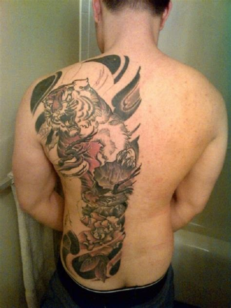 back piece tattoos for men awesome half back tiger tattoos