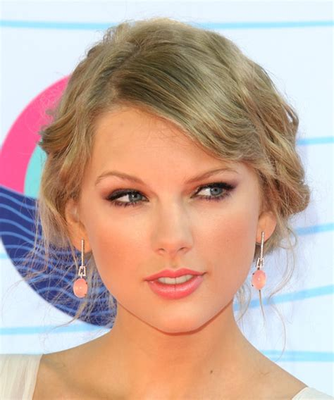 front view of side swept hairstyles taylor swift updo long curly casual wedding updo hairstyle
