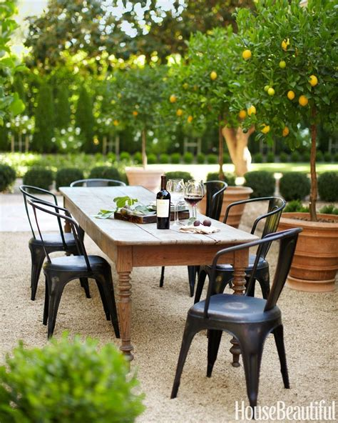 outdoor farm table and bench outdoor dining area in california farmhouse table