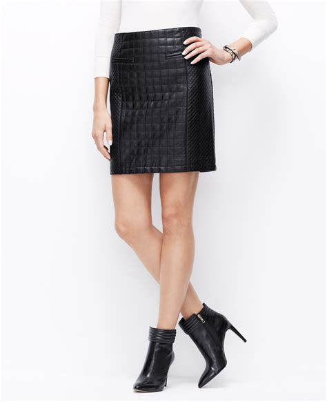 quilted faux leather skirt in black lyst