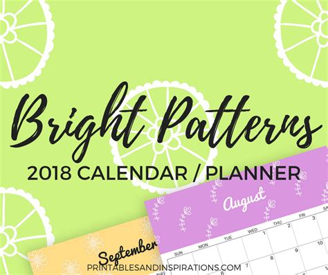 Or Free 2018 Free 2018 Colorful Calendar In Bright Patterns And More