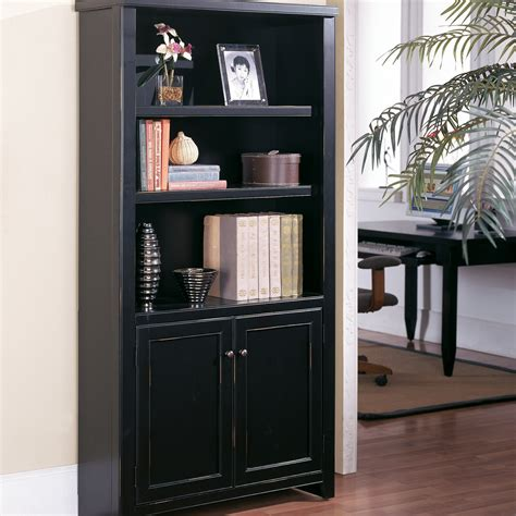 Black Bookshelf With Doors Kathy Ireland Home By Martin Tribeca Loft Bookcase With