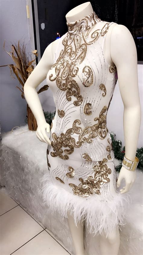 brittany white gold sequin feather dress