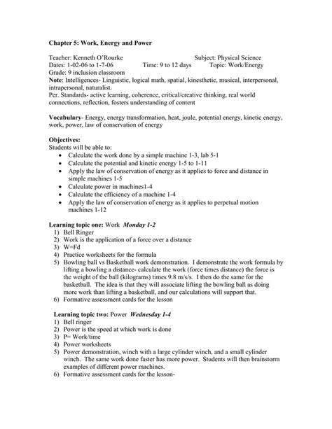 chapter 5 work and machines worksheet answers work power and energy worksheet geersc