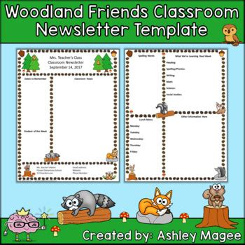woodland friends editable classroom newsletter template by