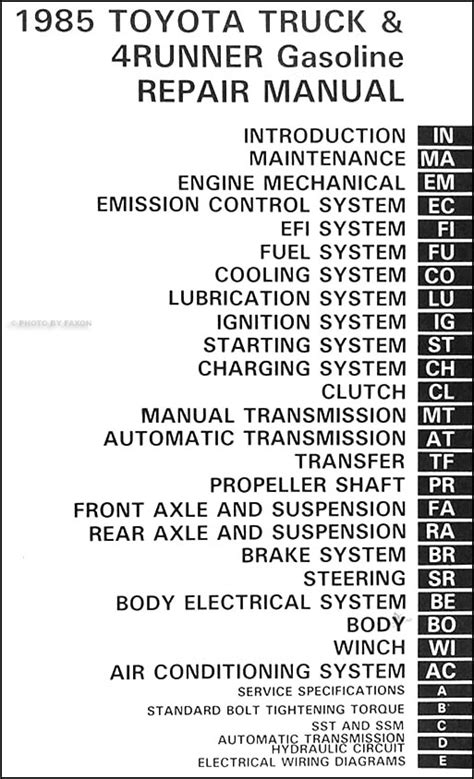 1985 toyota pickup truck 4runner repair shop manual original gasoline 1985 toyota corolla repair manual free download