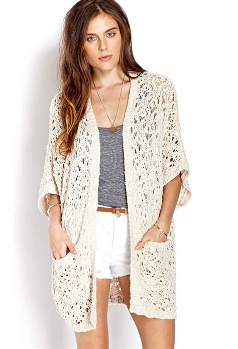 Cardigan Forever 21 Forever 21 Everyday Open Knit Cardigan In Beige Lyst