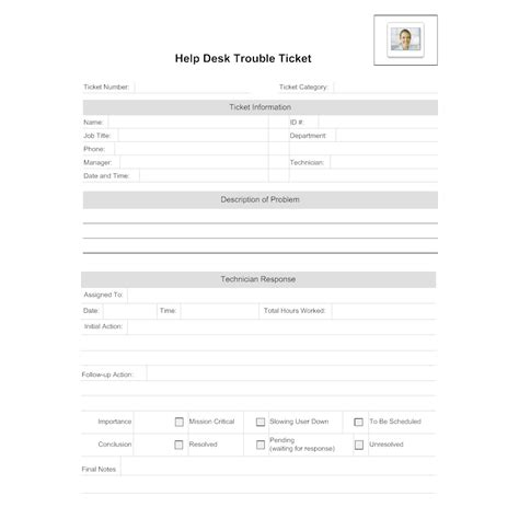 service desk templates help desk trouble ticket