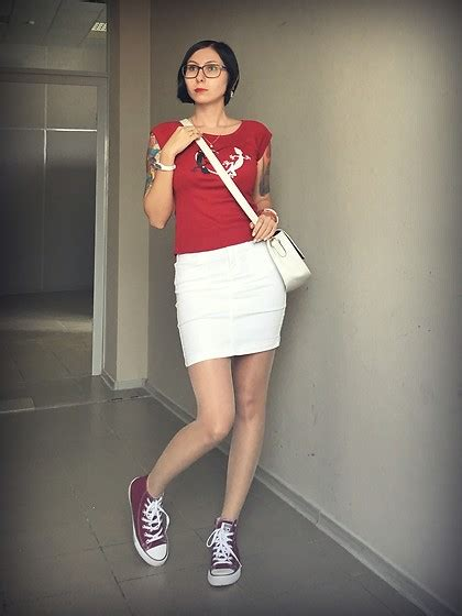 v i converse vinous sneakers white midi skirt