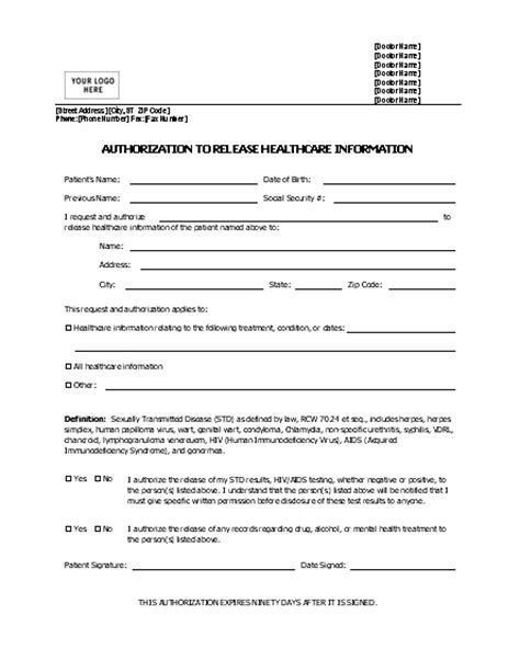 Release Of Information Form Template Beepmunk Consent To Release Information Template