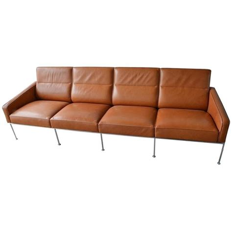 Arne Jacobsen Sofa by Leather Arne Jacobsen Series 3300 Four Seat Sofa For