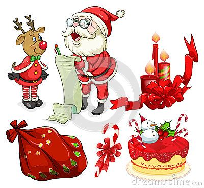 christmas decorations flashcards flashcard with santa and ornaments stock vector image 58787814