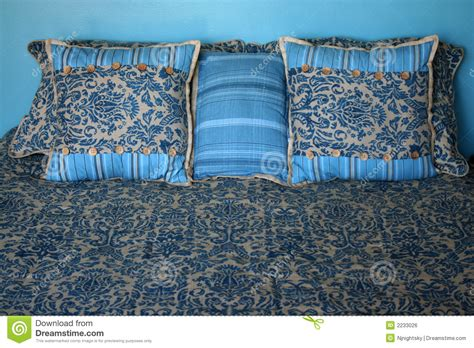 bed made of pillows made bed with pillows royalty free stock image image