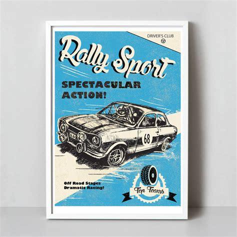 Kaos Print Umakuka Original Rally Car a3 retro rally car print by rocket 68 notonthehighstreet