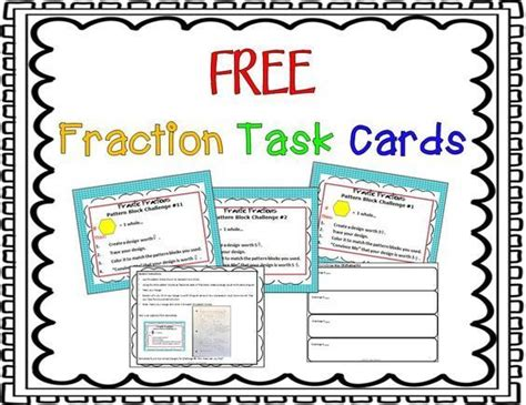 Math Task Card Templates by Free Fraction Task Cards Quot These Are Free On Math