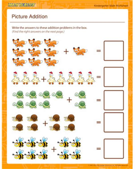 Picture Math Worksheets by Picture Addition Free Kindergarten Math Worksheets