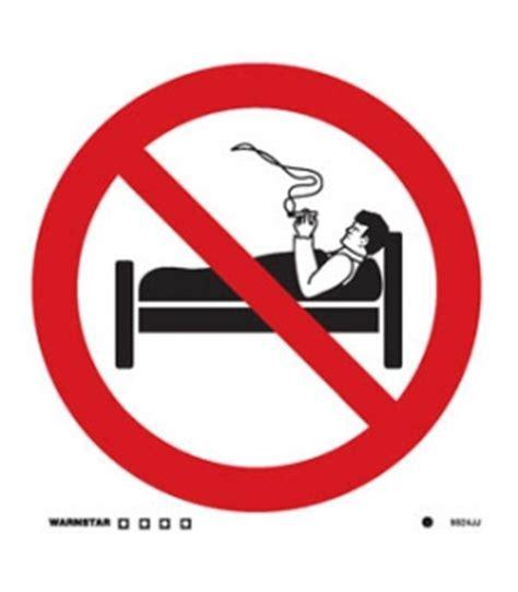 smoking in bed departmental signs accommodation white self adhesive vinyl no smoking symbol