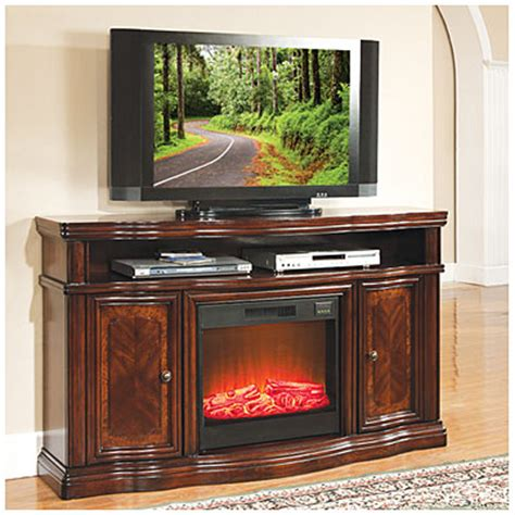 big lots furniture fireplace view 60 quot cherry media electric fireplace with doors deals