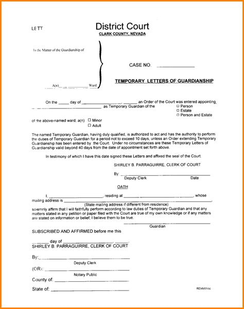 temporary custody letter template 12 sle letters of temporary guardianship ledger paper