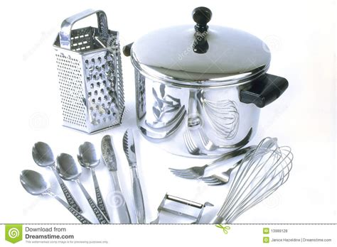 kitchen stuff group of stainless steel kitchen items stock photo image