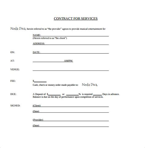 performance contract template 15 contract templates sle templates